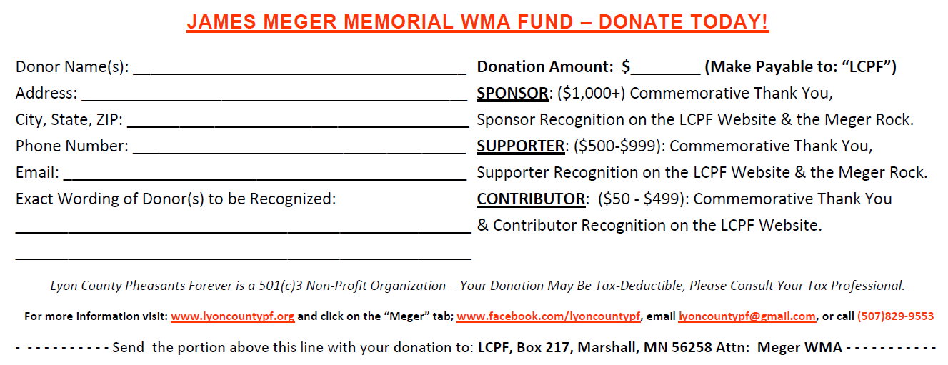 Support The Meger Memorial WMA – Lyon County Pheasants Forever